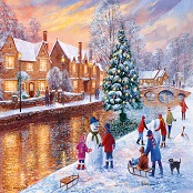 Gibsons 500 piece Jigsaw Puzzle - G3088 Bourton at Christmas - GIB-G3088