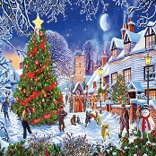 Gibsons 1000 piece Jigsaw Puzzle - G6224 The Village Christmas Tree - GIB-G6224